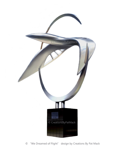 """We Dreamed of Flight"" stainless steel sculpture post image"